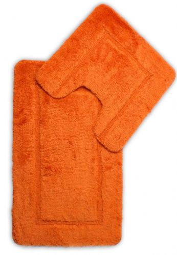 DESIGNER LUXURY SOFT MICROFIBRE BATH MAT & PEDESTAL ORANGE COLOUR